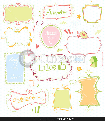 doodle mega pack 1 stock vector clipart, set of 11 doodled frames + lots n lots of extra's by SvenPowell