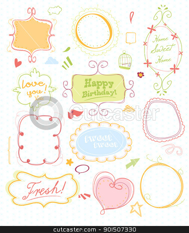 doodle mega pack 2 stock vector clipart, set of 11 doodled frames + lots n lots of extras by SvenPowell