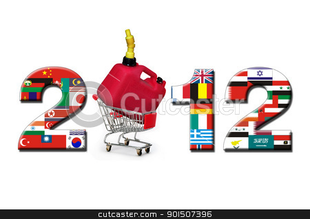 2012 New Year of Oil and Gas. stock photo, 2012 new year with shopping cart and gas can. by WScott