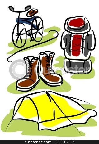 Travelling equpiment stock vector clipart, Simple object - travelling equipment. Tent, shoes backpack and bicycles. by Tomasz Parys