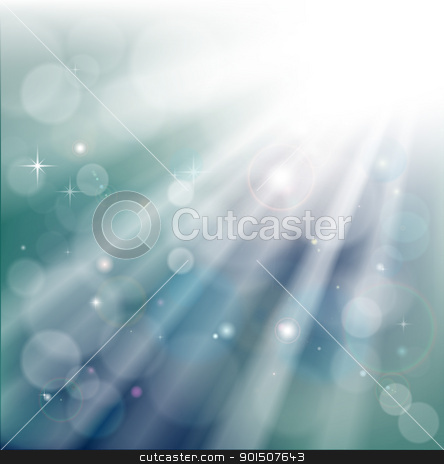 Bokeh light rays background stock vector clipart, A light rays background with  bokeh effect and glowing star particles  by Christos Georghiou