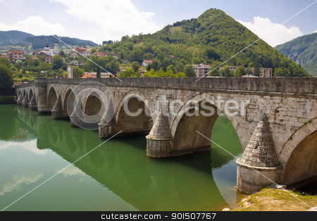 Old bridge on Drina river - Visegrad, Balkans. stock photo, Old beauty bridge on Drina river in Visegrad town - Bosnia and Herzegovina. by Tomasz Parys