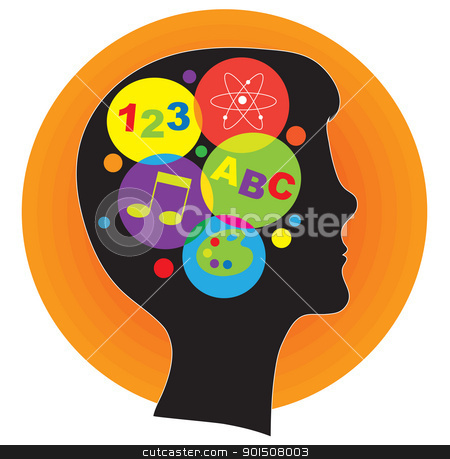 Brain Child stock vector clipart, A profile silhouette of a young person, with a head full of ideas represented by colorful icons. by Maria Bell