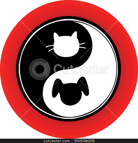 Yin Yang Cat Dog stock vector clipart, An atypical yin yang symbol inside a red circle, with a cat and dog engaged in the endless chase. by Maria Bell
