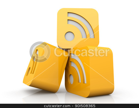 RSS Symbols stock photo, 3D rendered Illustration. A stack of RSS symbols. Isolated on white.   by Michael Osterrieder