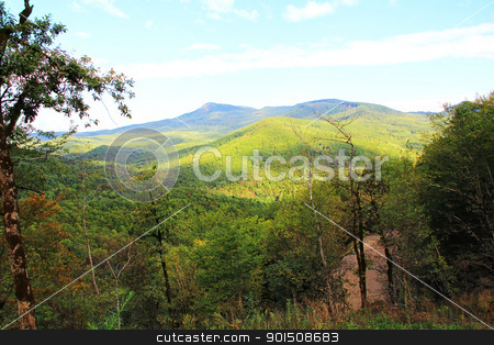 Summer landscape with Caucasus green mountains stock photo, Summer beautiful landscape with Caucasus green mountains by Julialine