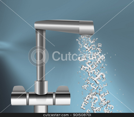 Money flow. stock photo, Illustration depicting a chrome water tap with metallic UK Pound Signs flowing from the spout against a blue background. by Samantha Craddock