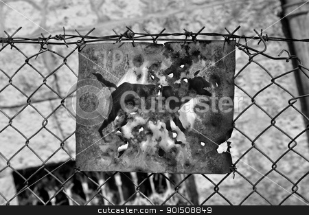 beware of the dog rusty sign stock photo, Beware of the dog rusty sign and barbed wire fence. Black and white. by sirylok