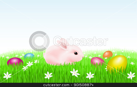 Bunny With Easter Eggs stock photo, Bunny on the grass with Easter Eggs. Illustration on white background for design by dvarg