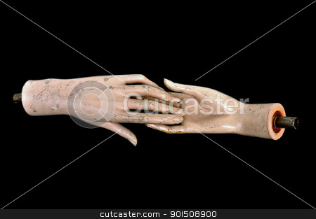 doll hands weathered plastic mannequin stock photo, Weathered detached hands of plastic mannequin doll. by sirylok