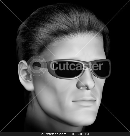 man with dark sunglasses stock photo, Man with dark sunglasses 3d illustration. Black and white. by sirylok