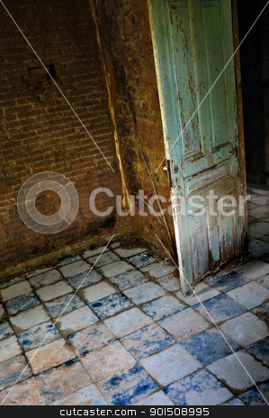 the tilted room stock photo, Decayed room interior old door tiled floor and roots growing on crumbling brick wall. by sirylok