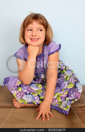 Little girl stock photo, Cute little girl sitting on a wooden chest daydreaming by Vanessa Van Rensburg
