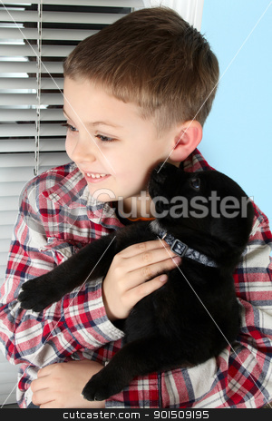Boy and puppy stock photo, Beautiful blond boy with a black puppy by Vanessa Van Rensburg