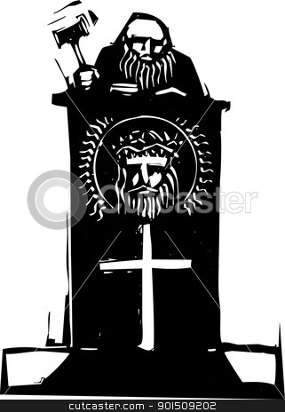 Religious Judge stock vector clipart, Woodcut style judge sitting atop his bench with religious iconography. by Jeffrey Thompson