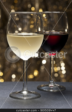 White, Red Wine in front of beautiful background stock photo, White and Red Wine in front of beautiful gold glitter background by Ulrich Schade