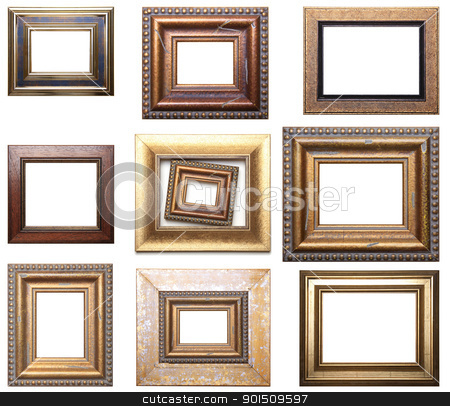 Group Of Picture Frames stock photo, Group Of Pictures Frames Isolated On White Background, Design Element by Adam Radosavljevic