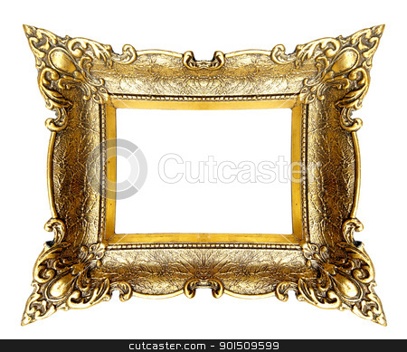 Wierd Picture Frame stock photo, Old Gold Picture Frame by Adam Radosavljevic