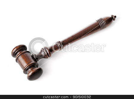 Gavel stock photo, High quality wooden gavel mallet isolated on white with natural shadows. by Stocksnapper