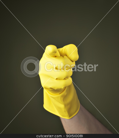 Accusing finger stock photo, Hand with yellow protective rubber glove pointing with finger. by Stocksnapper