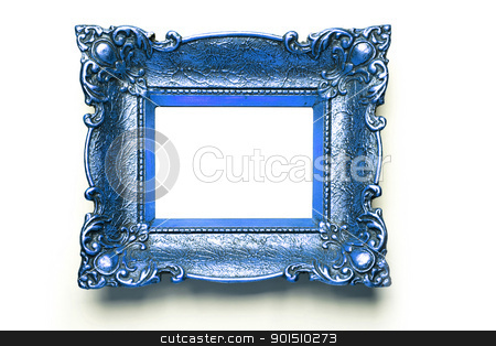 Blue Picture Frame on white wall stock photo, Old Blue Picture Frame Isolated On White Background, Design Element by Adam Radosavljevic