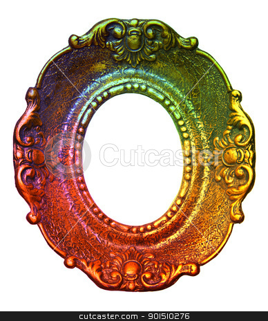 Rainbow Retro Picture Frame stock photo, Rainbow Picture Frame Isolated On White Background, Design Element by Adam Radosavljevic