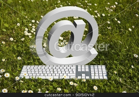 Internet in garden! stock photo, Internet @ sign and niderb keyboard on green grass in garden by Adam Radosavljevic
