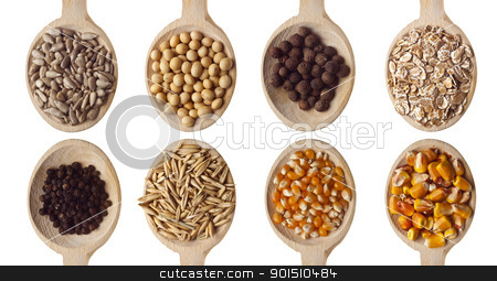 Seeds stock photo, Different type of seeds on wooden spoon by Adam Radosavljevic