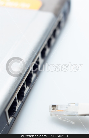 network hub switch with lan cable disconnected stock photo, network hub switch with lan cable disconnected over white by Francesco Perre