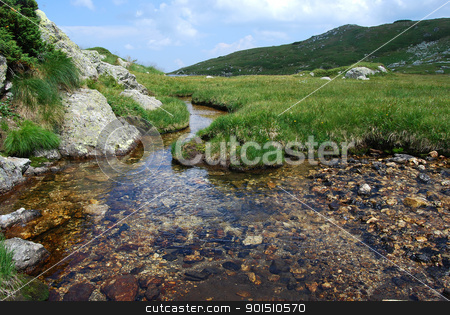 High mountain spring waters stock photo, Clear high mountain spring waters in summer by Aleksandar Varbenov