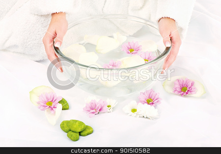 Preparing petal bath stock photo, Woman's hands and petal bath by iMarin