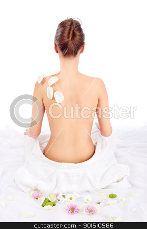 Sexy back of beautiful girl stock photo, Sexy back of beautiful girl on white by iMarin