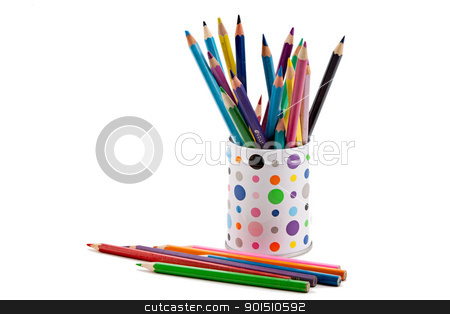 Colored pencils stock photo, Colorful pencils in a container isolated on white by Gyöngyvér Szász