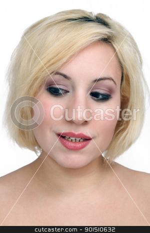 Beautiful Blonde Headshot (2) stock photo, A studio close-up of a beautiful young blonde. by Carl Stewart
