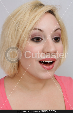 Beautiful Excited Blonde (1) stock photo, A studio close-up of a beautiful young blonde with an excited or curious facial expression. by Carl Stewart