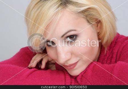 Beautiful Blonde Headshot (8) stock photo, A studio close-up of a beautiful young blonde. by Carl Stewart