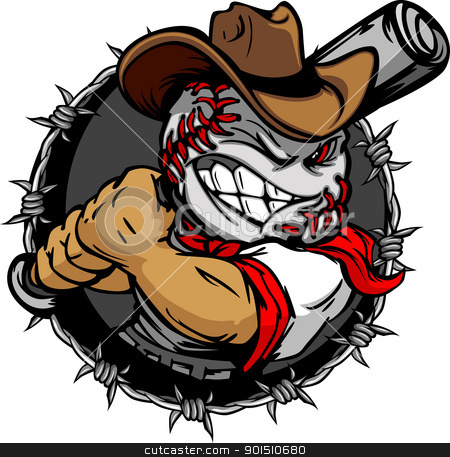 Cartoon Cowboy Baseball Face Holding Baseball Bat stock vector clipart, Baseball Face Cartoon Cowboy Vector Illustration by chromaco