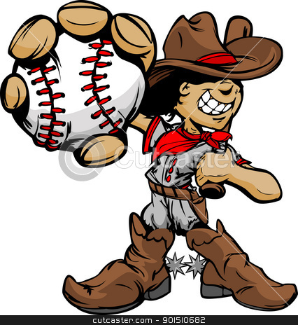 Cartoon Cowboy Kid Baseball Player Holding Ball stock vector clipart, Baseball Cartoon Boy Cowboy Holding Bat Vector Illustration by chromaco