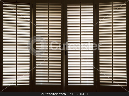 Wooden Window Shutters stock photo, Wooden shutters in front of bright, sunlit windows by Bryan Mullennix