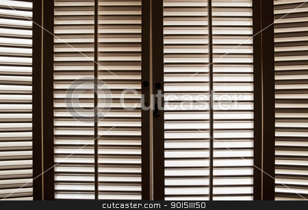 Wooden Window Shutters stock photo, Wooden shutters in front of bright, sunlit windows by Bryan Mullennix