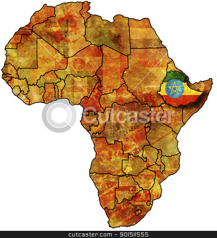 ethiophia old map stock photo, some very old grunge map with flag of ethiophia by michal812
