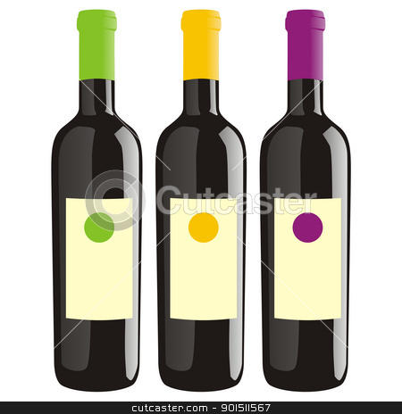 isolated wine bottles stock vector clipart, fully editable vector illustration of isolated wine bottles by pilgrim.artworks