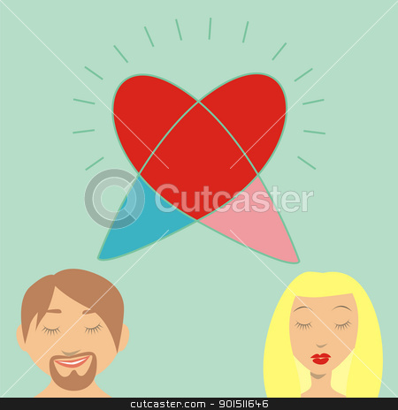 thinking of love stock vector clipart, fully editable vector romantic couple thinking of love by pilgrim.artworks