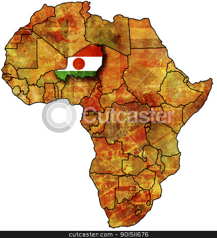 niger old map stock photo, some very old grunge map with flag of niger by michal812