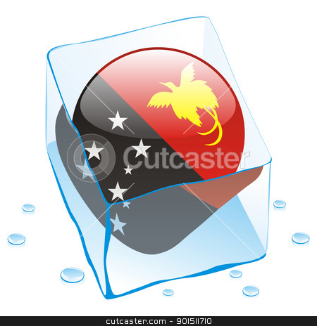 papua new guinea button flag frozen in ice cube stock vector clipart, fully editable vector illustration of papua new guinea button flag frozen in ice cube by pilgrim.artworks