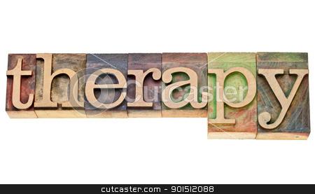 therapy word in letterpress type stock photo, therapy - isolated word in vintage wood letterpress printing blocks by Marek Uliasz