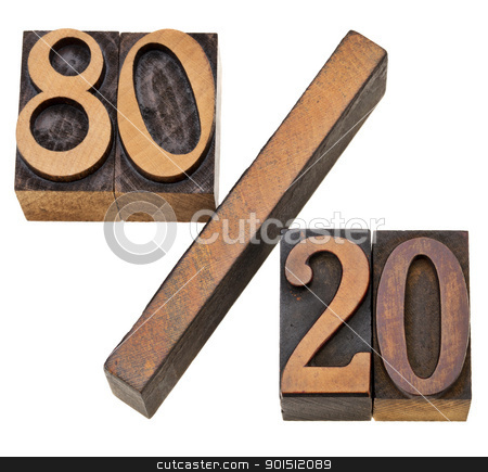 Pareto principle in letterpress type stock photo, Pareto principle or eighty-twenty rule represented on isolated vintage wood letterpress printing blocks by Marek Uliasz
