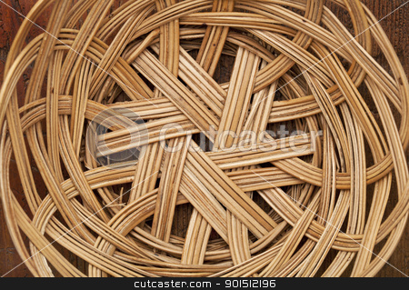 wicker basket abstract stock photo, empty wicker basket abstract with circular pattern, focus on a bottom by Marek Uliasz