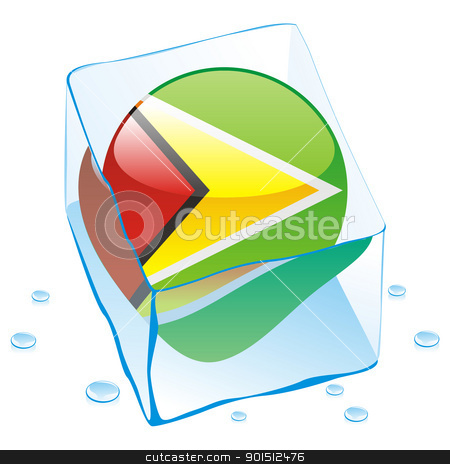 guyana button flag frozen in ice cube stock vector clipart, fully editable vector illustration of guyana button flag frozen in ice cube by pilgrim.artworks