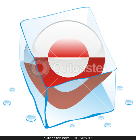 greenland button flag frozen in ice cube stock vector clipart, fully editable vector illustration of greenland button flag frozen in ice cube by pilgrim.artworks